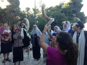 5-18-16 Ending the Walk with girls blowing the shofar