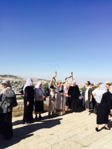 5-18-16 Women's Peace March Tayelet Jerusalem Blowing of the Shofar