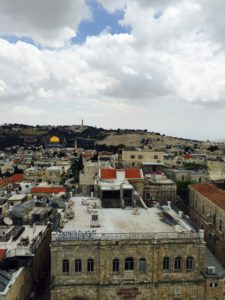 View from David's tower toward Gethsemane and Mt of Olives Old City Jerusalem 5-7-16